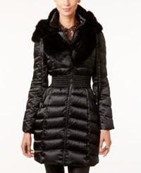 Laundry By Shelli Segal Faux Fur Collar Quilted Puffer Coat Black
