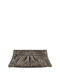 Lauren Merkin Eve Metallic Suede Clutch Bag Gray Gold