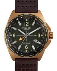 44Mm Journeyman Gmt Watch With Leather Strap Brown Green Filson Blue