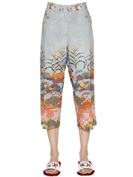 Stella Jean Printed Brushed Cotton Cropped Pants