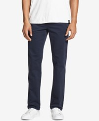 Dkny Men's Slim Fit Tapered Leg Sateen Pants Navy