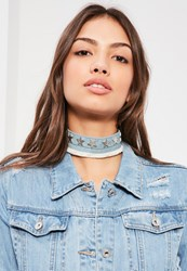 Missguided Blue Star Detail Denim Choker Necklace