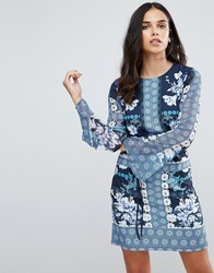 Jessica Wright Floral Printed Shift Dress Blue