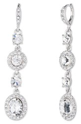 Givenchy Women's Crystal Linear Drop Earrings Silver