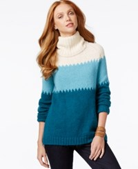 G.H. Bass And Co. Colorblocked Tunic Sweater Deep Turquoise Combo