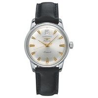 Longines L16114752 Men's Conquest Heritage Automatic Date Leather Strap Watch Black Silver