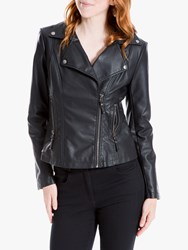 Max Studio Leatherette Biker Jacket Black