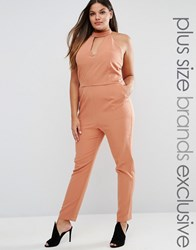 Lavish Alice Plus Keyhole Plunge Neck Jumpsuit Chocolate Brown