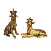 Gisela Graham Gold Dog With Crown Ornament Set Of 2