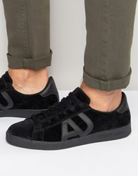 Armani Jeans Suede Logo Trainers Black