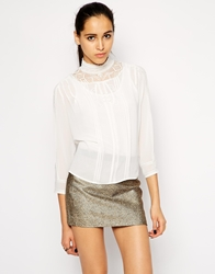 Cynthia Vincent Embroidered Blouse With High Neck White