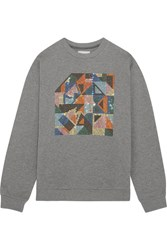Christopher Kane Geometric Swarovski Crystal Embellished Jersey Sweatshirt Gray