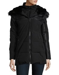 Guess Faux Fur Trim Long Sleeve Puffer Jacket Black