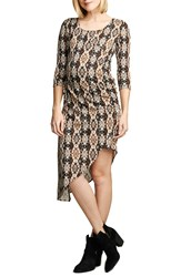 Maternal America Print Asymmetrical Hem Dress Ikat Print