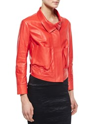 Donna Karan Lamb Leather Bracelet Sleeve Jacket Flame Red Women's