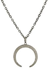 Feathered Soul Women's Arched Moon Pendant Necklace Silver
