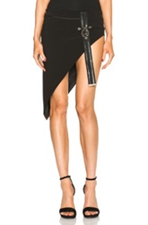 Anthony Vaccarello Leather Detail Asymmetrical Skirt In Black