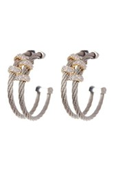 Alor 18K Yellow Gold And Stainless Steel Diamond Cable Hoop Earrings 0.08 Ctw Gray