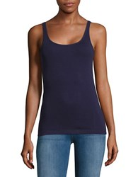Lord And Taylor Ribbed Cotton Tank Top Evening Blue