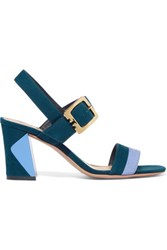 Tory Burch Palermo Two Tone Suede Sandals Royal Blue