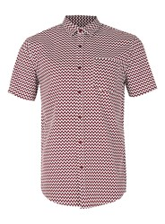 Topman Red Burgundy And White Zig Zag Short Sleeve Casual Shirt