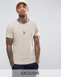 Puma T7 Logo Muscle Fit T Shirt In Beige 57443301 Beige