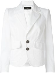Dsquared2 Cropped Peaked Lapel Blazer White