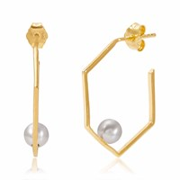 Neola Minerva Gold Earrings With Grey Pearl