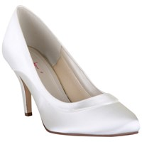 Rainbow Club Nicole Extra Wide Satin Court Shoes Ivory