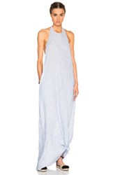 Baja East Cotton Stripe Maxi Halter Dress In Blue Stripes