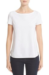 Lafayette 148 New York Women's Short Sleeve Jersey Tee White