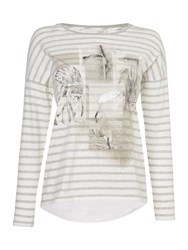 Oui Long Sleeve Stripe Festival Tee Multi Coloured Multi Coloured