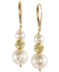 Effy Collection Effy Cultured Freshwater Pearl Drop Earrings In 14K Gold 5 1 2Mm And 11Mm Yellow Gold