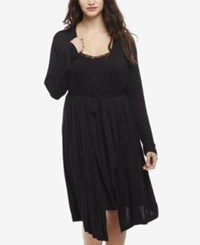 Motherhood Maternity Plus Size Nursing Nightgown And Robe Black