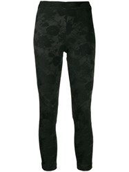 Ann Demeulemeester Cropped Embroidered Floral Leggings Black
