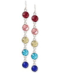 Macy's M. Haskell Silver Tone Mixed Multi Colored Faceted Stone Linear Earrings
