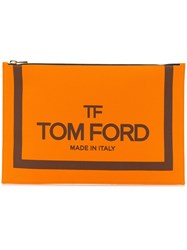 Tom Ford Logo Print Clutch Orange