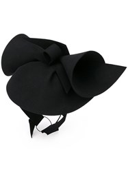 Gucci Sculpted Felt Hat Women Rabbit Fur Polyester Spandex Elastane M Black