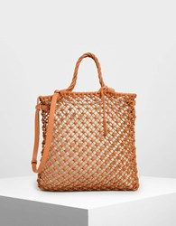 Charles And Keith Knitted Tote Bag Orange