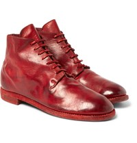 Guidi Textured Leather Lace Up Boots Red