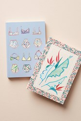 Anthropologie Bright Blossoms Journal Set Iris Blue