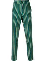 Stella Jean Woven Stripe Trousers Green