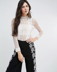 Endless Rose Long Sleeve Sheer Shirt With Lace Detail White