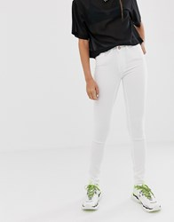 Noisy May Lucy Extreme Soft Mid Rise Skinny Jeans White