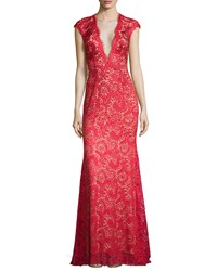Jovani Deep V Illusion Beaded Lace Gown Red Nude