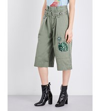 Marc Jacobs Embellished Cropped Cotton Cargo Shorts Green Military
