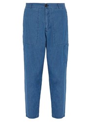 Oliver Spencer Judo Cotton Chambray Trousers Blue