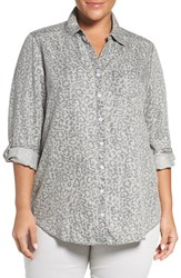Foxcroft Plus Size Women's Animal Print Tencel Roll Sleeve Tunic Shirt