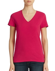 Lord And Taylor Petite Stretch Cotton V Neck Tee Jazzy Pink