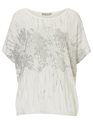 Betty And Co. Marble Print Top Cream Silver